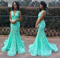 Wholesale turquoise long pageant dresses - Turquoise Green Full Lace Mermaid Prom Party Dresses African V neck Robe de Soiree Sweep train Formal Long Evening Pageant Gowns