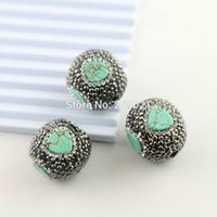 Venda Por Atacado 10pcs Natural Turquoise Druzy Beads, Pavê Crystal Rhinestone Gem Stone Charm Connector Jewelry