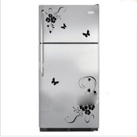 Wholesale Wisteria Flower Wall Stickers - Wisteria Flowers Stickers Fridge Magnets Wall Plant Decal Kitchen Refrigerator Flower Home Decor Single-piece Package Fridge Magnets