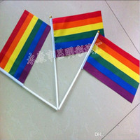 Wholesale Six Flags - 100% polyester flag,14*21 cm rainbow hand flag in small size,six colores flag factory directly