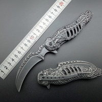 Wholesale Knife Assisted Free Shipping - knuckles skull knife Stonewash 440C karambits Assisted Folding Knife Tactical Folding Blade CLaw Knives Free shipping