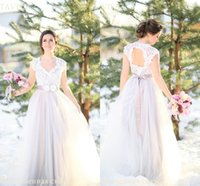 Backless Lace 2016 Beach Bridesmaid Dresses Cap Sleeves A-line Tulle Evening Dresses Дешевые праздничные вечерние платья