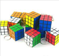 Wholesale Mini Key Chain Cube Toys - New mini toys cube magic puzzle game puzzle key chain carrying 3 * 3 * 3 car toy key key chain wholesale