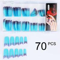 Wholesale Decoration False Nails - Wholesale-70pcs Stunning Glitter Twinkle Slice Artificial False Nails Acrylic Half French Nail Art Tips Tools DIY decoration blue FN52