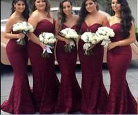 vestido de novia sirena burdeos al por mayor-Elegante Borgoña Novia Encaje Sirena Vestidos de dama de honor largos baratos 2020 Wine Maid of Honor Vestido de invitado a la boda Vestidos de fiesta de graduación
