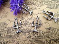 Wholesale Wholesale Silver Plated Candlesticks - 100pcs-- Spooky CANDELABRA Haunted House Charms Antique Tibetan silver Candlestick Charms pendant 24 x14mm