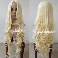 Wholesale Blonde Spiral Curly Wig - Freeshipping havana african american woman >>90cm 35 inch Iron Heat resistant Long Blonde Spiral Wavy Cosplay Hair Wig G613