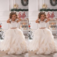Wholesale Cute Dresses For Children - 2017 Cute Flower Girls Dresses For Weddings Illusion Neck Lace White Ivory Sashes Ruffles Princess Children Kids Party Birthday Gowns BA2194
