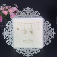 Wholesale Elegant Purple Invitations - Hot Selling Elegant Laser Cut Hollow Wedding Invitations Cards personalized Wed Invitations Invites Date Cards in good price DHL free