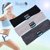 Wholesale Sport Cap Outdoors - Knitted Unisex Bluetooth Headband Wireless Music Headset Cap Outdoor Sports Yoga Soft Headphone Handfree With Mic for iPhone 7 Mobile Phone