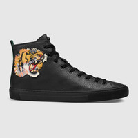 Wholesale Womens Tiger Tops - New Designer High Top Black White Leather Tiger Head Embroidery Casual Shoes Party Shoes Fashion G G Luxury Sneakers for Mens Womens