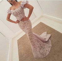 Wholesale Daffodil Bubble Dress - Mermaid Lace Evening Dresses with Bubble Sleeves 2017 Sweetheart Neck Sweep Train Evening Gowns Custom Made