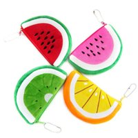 Wholesale Earphone Cute Cartoon - Wholesale-24pcs lot Cute Plush Cartoon Coin Purses Watermelon Cartoon Purse Fruit Wallet Coin Bags Children Cartoon Earphone Bags