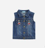 Wholesale Waistcoat Collar For Girl - Girls Outerwear 2017 Autumn Cowboy Waistcoats Length Jacket Cartoon Owl Appliques Coat for Kids Sleeveless Vests