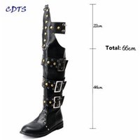 Wholesale Roll Up Shoes - Wholesale- CDTS zapatos mujer Punk pointed toe trend men's rivet Buckle Knee-High Motorcycle boots Male Outdoor Dance Rock roll shoes