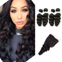 Wholesale Natural Curl Indian Remy Hair - Loose Wave Virgin Hair 4 Bundles with Lace Closure Natural Brown Brazilian Peruvian Indian Malaysian Cambodian Loose Curl Human Hair Bundles