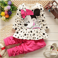Wholesale New Boy Dress - 0-4yrs 2016 New Spring Kids Clothes Girls Dresses + Leggings Baby Girls Clothing Sets Toddler Girls Clothing Cotton costume