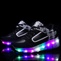 Wholesale Led Skate Wheels - New Boys Girls LED Light Shoes Children Roller Skate Shoes kids Automatic Kids With Single Wheels men woman Athletic shoes sports