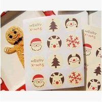 Wholesale Seal Christmas Sticker - Christmas stickers Xmas trees gear lace Seal Label Sticker Circle Point Sticke(3cm) Box Bag Tag Labels Gift Packaging sticker C2033