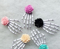 Wholesale Skull Barrettes - 24pcs Free Shipping Fashion Rose Flower skeleton claws skull hand hair clip Zombie Punk Horror hairwear hairpin bobby pin