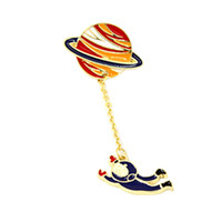 Wholesale Spaceman Costume - Wholesale- 2016 hot fashion vintage designer enamel rabbit spaceman planet charm costume brooch pins jewelry accessories for women broches