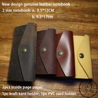 Wholesale High Quality Leather Notebooks - wholesale New 9X13cm travelers journal notebook high quality genuine leather handmade free engrave letters vintage notebook school supplies