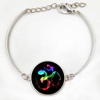 marcas de joyas de época al por mayor-Marca colorida Om Ohm Aum Namaste Yoga símbolo pulsera vintage hindú zen joyería cristal arte Mandala joyería de las mujeres