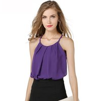 Wholesale collars for blouses online - Sexy lace tank tops for women chiffon shirts thin collar clothes blouses double layer plus size crop tops basic tank tops women