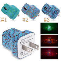 Wholesale Glowing Usb Charger - 5V LED Light USB Wall Charger Crack Style Glow Lighting Travel Charger US EU Plug Power Adapter For iphone Samsung Smart Phone