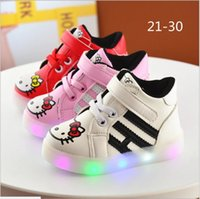 Wholesale Air 21 - Retail 2017 New Girls Led Lighted Shoes Kids Cartoon Hello Kitty Luminous Sneakers Cute Girl Casual Shoes Children Sports Sneakers 21-30