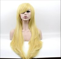 Wholesale Blonde Lolita - 85 cm Harajuku Fashion Lolita Cosplay Party Wig Long Straight Anime Golden Heat resistant synthetic Wig Artificial Hair Peruca