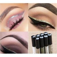 Wholesale Eyeshadow Gels - New colorful Liquid Glitter Eyeliner Eyeshadow Shiny Waterproof Long Lasting Eye liner Makeup Fashion Cosmetic