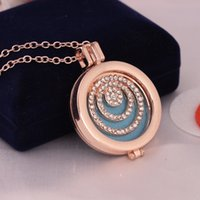 Gold Tone Helix Perfume Locket Aceite Esencial Difusor Collar Aromatherapy Colgante Collar Con Clear Rhinestone Free Pads