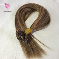 Wholesale Highlight Hair Piece - 10A Virgin Peruvian Human Hair #4 Highlights #27 U Tip Hair Extensions Silky Straight U Tips 1g Strand 100 Strand Fusion Hair Extensions