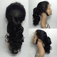 Wholesale Brazilian Beautiful Women - Full Lace Human Hair Wigs Virgin Brazilin body wave Human Hair Wigs for black women With Baby Hair beautiful high ponytail