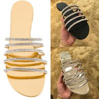 Wholesale Sexy Peep Toe Flat Sandal - 2017 New Fashion Brand Rhinestone Sandals Slippers Flat With Women Peep Toe crystal chain Sandals Sexy Causal Slippers Shoes