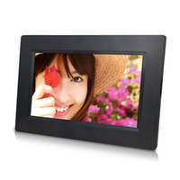 Wholesale Photo Frame Digital Christmas - LED Digital Photo Frame 1024*600 High Resolution With Alarm Clock MP3 MP4 Movie Player with Remote Control Christmas Gift