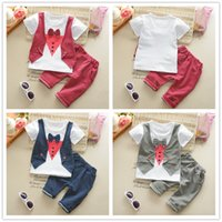 Wholesale Summer Boys Pcs Set - Summer Kids Clothing Boys Short Sleeve Kids Gentleman 2 PCS Clothing 100% cotton children clothing sets