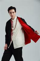 jaqueta vintage xxl masculina venda por atacado-Xangai História de Manga Longa Chinês tradicional clothing Botão Chinês dos homens Jaqueta Vintage gola mandarim Jacket reversível para o homem