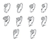 Wholesale Real Silver Finger Ring - Pretty Real 925 Sterling Silver Rings Women's Finger Rings with AAA Crystal Cubic Zircoina Jewelry for Party Wedding Gift R0004 R0005 R0006
