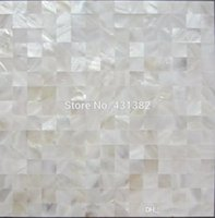Wholesale HYRX shell mosaic natural white color Mother of Pearl Tiles flat surface kitchen backsplash tile bathroom wall flooring tiles