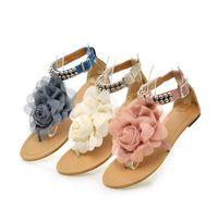 Wholesale flat back flower beads - New Arrive Sweet Women Flat Sandal with Flower & Beads Fashion Shoes Sandal blue pink beige