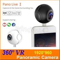 Wholesale Pocket Video Camera Hd - Pano Live I mini 360 video camera VR Panoramic Camera portable pocket Camera Dual Lens for Type-c Micro usb android phones Free shipping