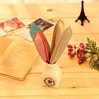 Wholesale feather pens - Korean Stationery Cute Feather Pen Advertising Creative Bent School Office Gel Pens