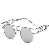 gotik yuvarlak güneş gözlüğü toptan satış-Yüksek kaliteli Yuvarlak güneş gözlüğü Metal Çerçeve Steampunk Güneş Kadınlar Marka Tasarımcısı Yuvarlak Erkekler Gotik Güneş gözlükleri Eski Gözlük