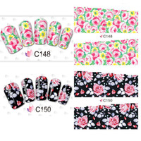 Wholesale Designs Nails Flowers - New Fashion 50 Sheets Beautiful Flower Designs Water Nail Art Stickers Full Cover Watermark Nail Stickers Nail Decals