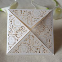 Wholesale Square Invitation Buckles - Luxury wed invitation square wed invitation laser cut flower design wed card invitations free shipping wholesale