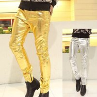 Wholesale fly shows - Wholesale- New fashion show thin men's trousers Artificial leather and spandex fabric 2 color gold and silver male pants Straight pants