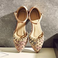 Wholesale Heel Sandals Online - Women Flat heel Sandals Pointed-toe Hollow upper Shoes Woman Plus Size 42 Chep online stores Box Packing THES-S129