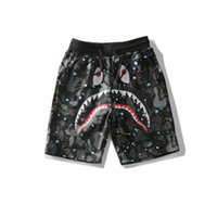 Wholesale Teenagers Shorts - 2017 Summer Teenager Hip-hop Short Pants Men's Shark Head Japan Luminous Camouflage Sky Shark Mouth Noctilucent Shorts